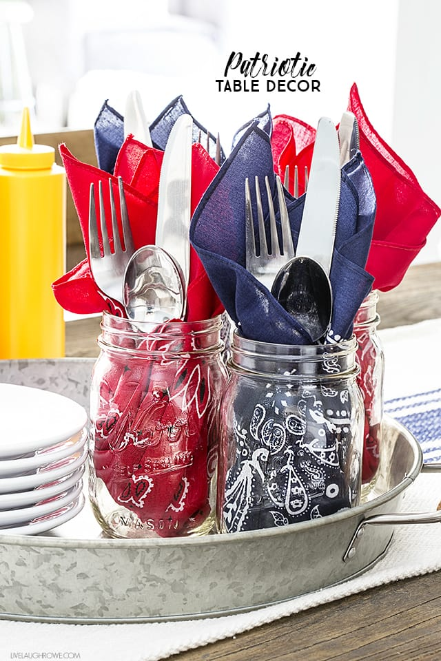 Patriotic Table Decor with Bandanas