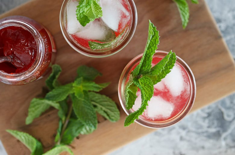 This strawberry mint jam cocktail is perfect for all of your summer parties and barbecues. Serve it in a mason or jam jar for an extra special touch!