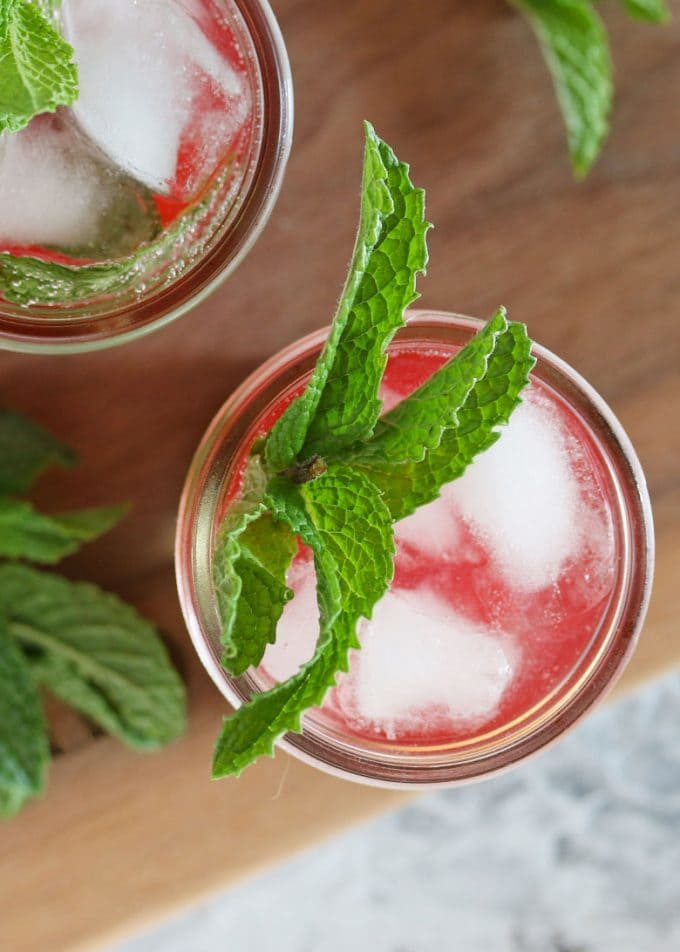 mint strawberry jam cocktail overhead photo