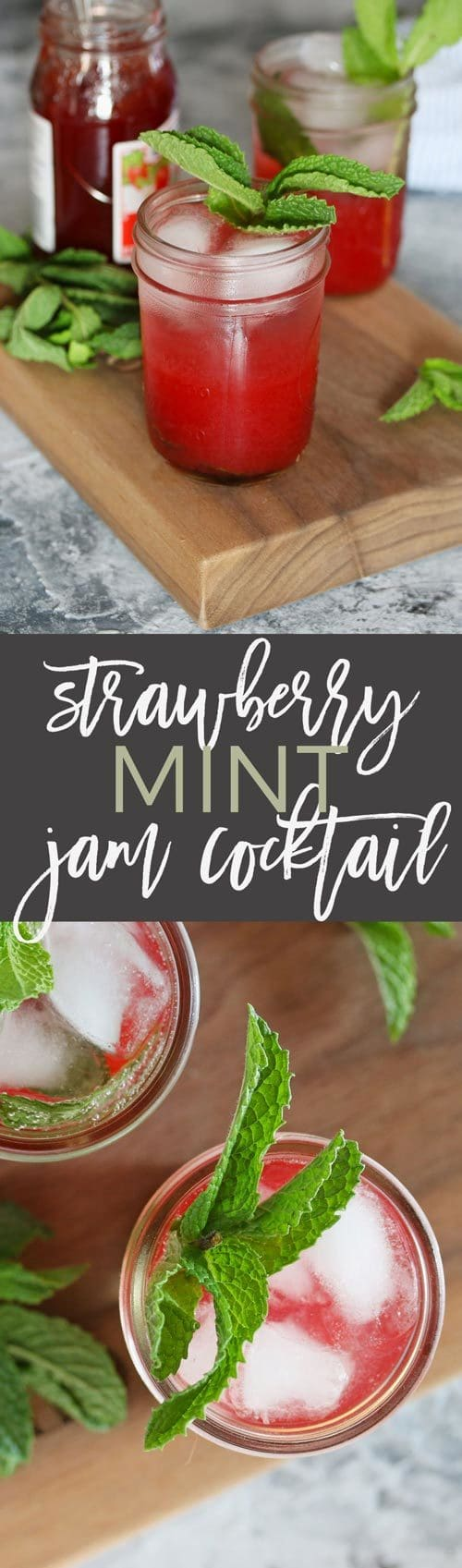 mint strawberry jam cocktail long pin