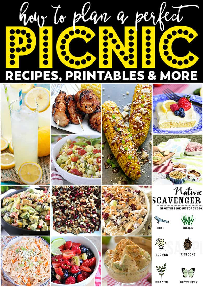 The perfect picnic meal plan - delicious recipes, easy printable, food bars and more! All you need is perfect weather and you're set.