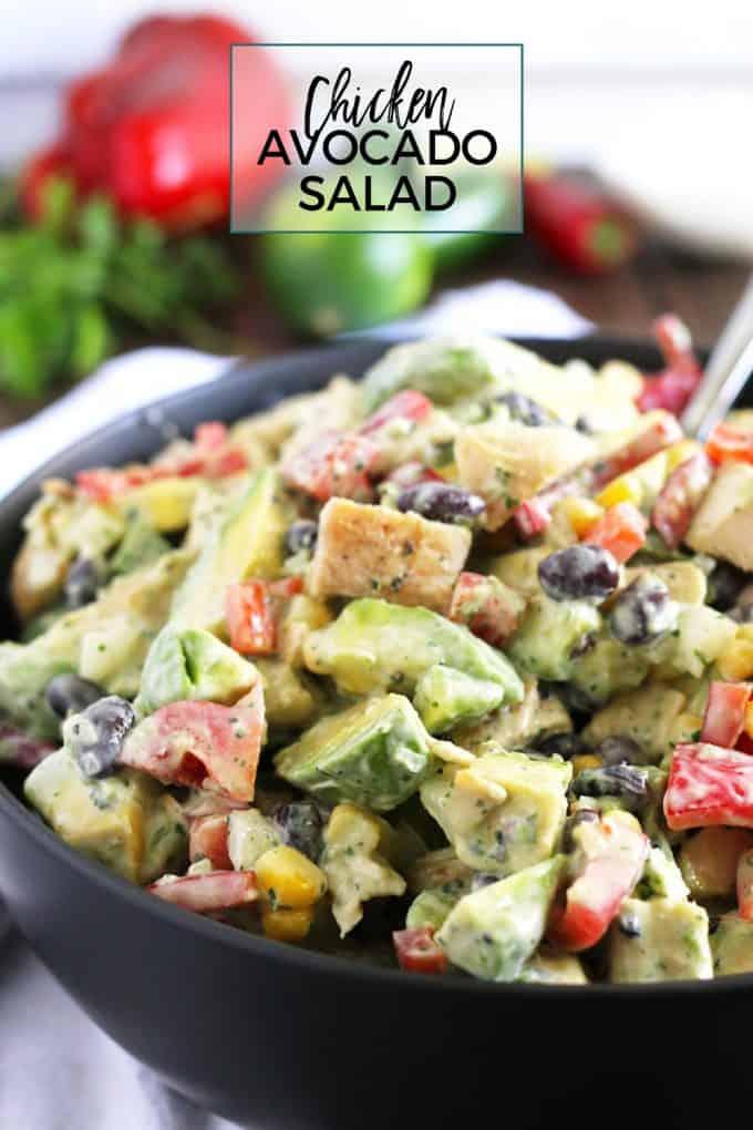 grilled chicken avocado salad pin