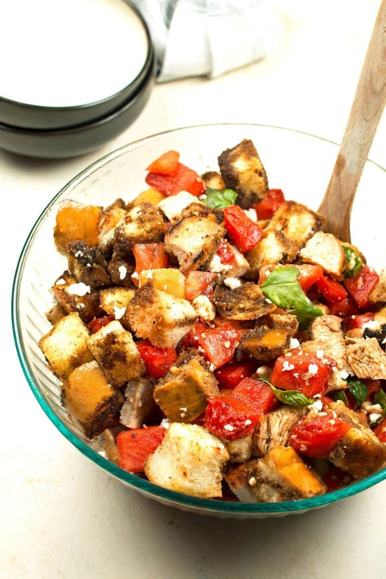 Grilled watermelon chicken panzanella salad is a great unique addition ...