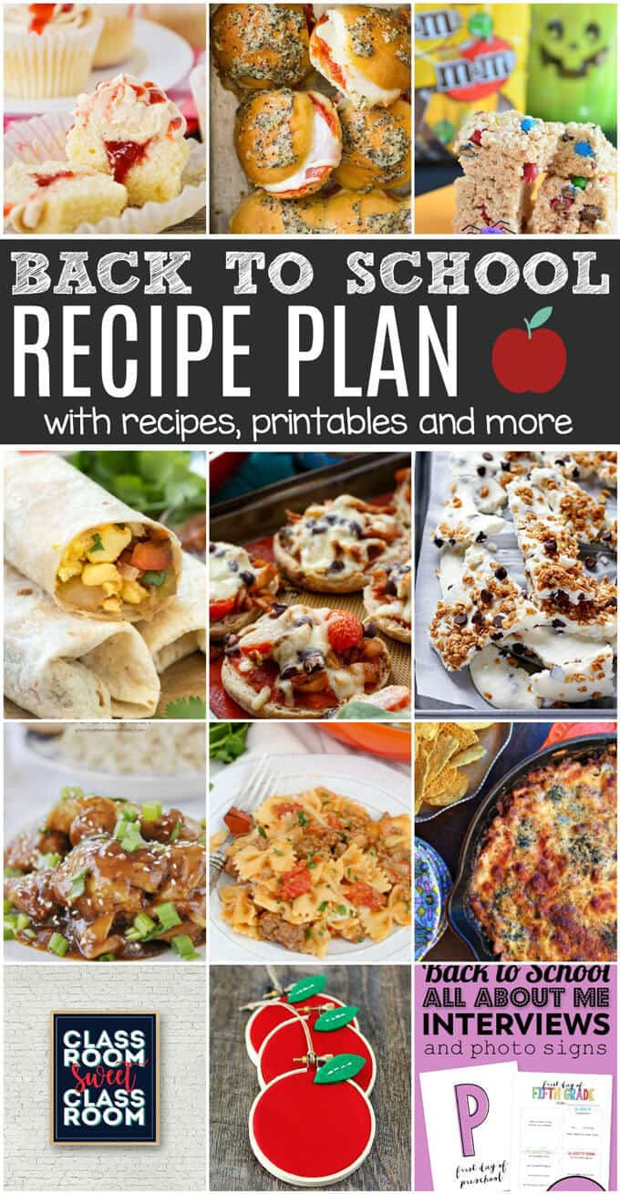 Looking for easy back to school ideas? Try these easy recipes to get back into the swing of school, with a side of fun printable to get your kids in the mood! This Back To School Recipe Plan will check off all the boxes on your to-do list.