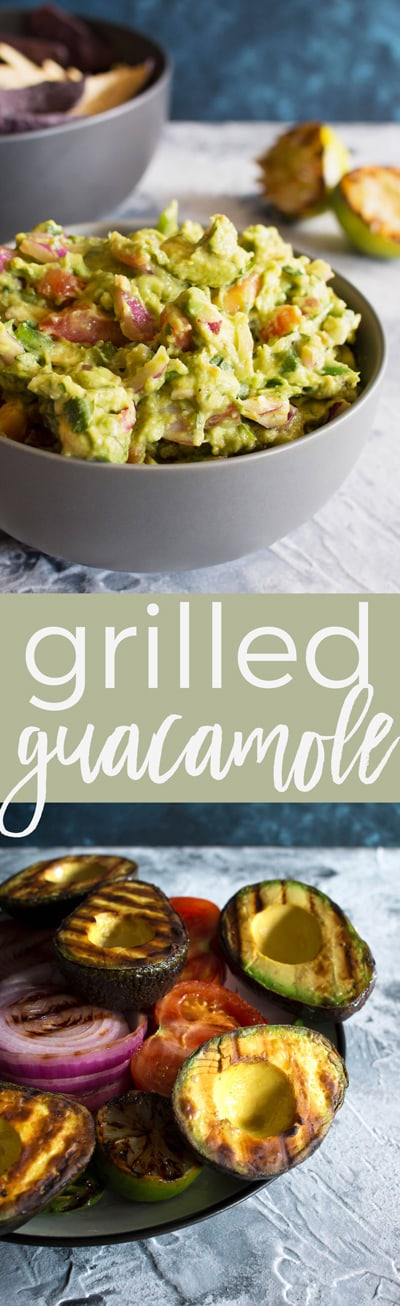This grilled guacamole recipe is going to be your new favorite summer dip. Grilling all of the vegetables gives the guacamole a smoky and unforgettable taste.