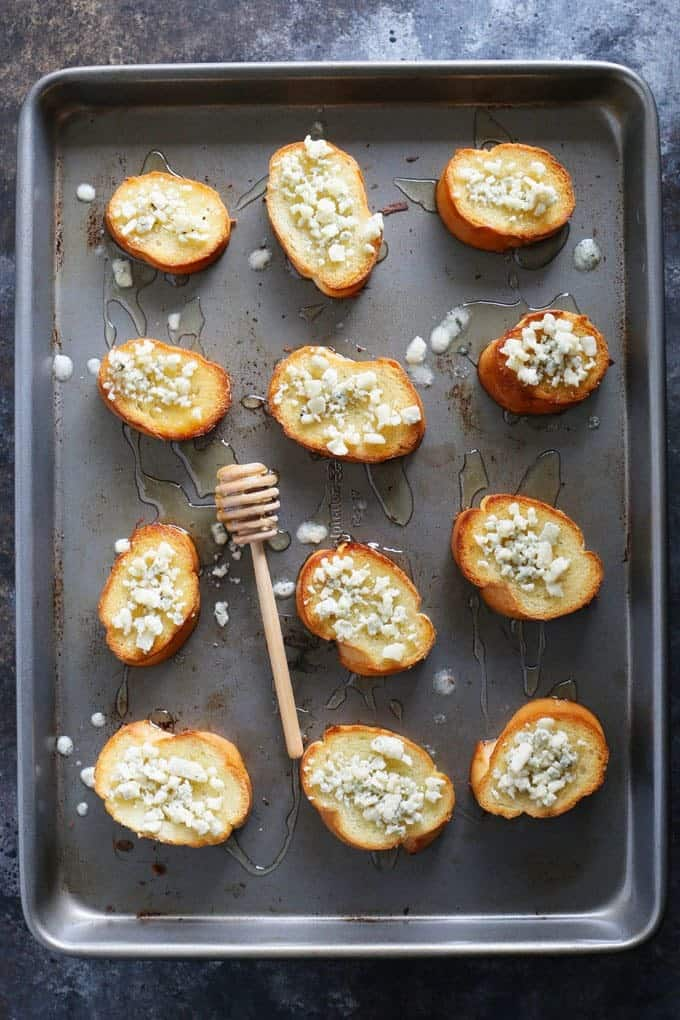 Best Honey Recipes: Easy Honey Blue Cheese Crostini