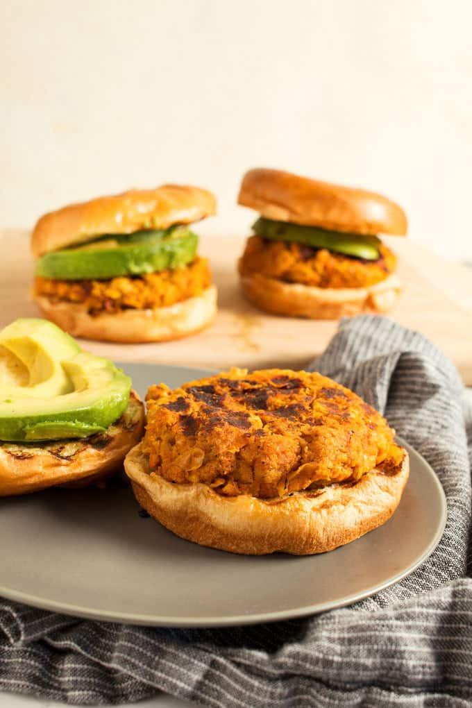 These Vegan Sweet Potato Garbanzo Bean Burgers are easy to make and great for summer parties. Or use a grill pan and make them year-round!