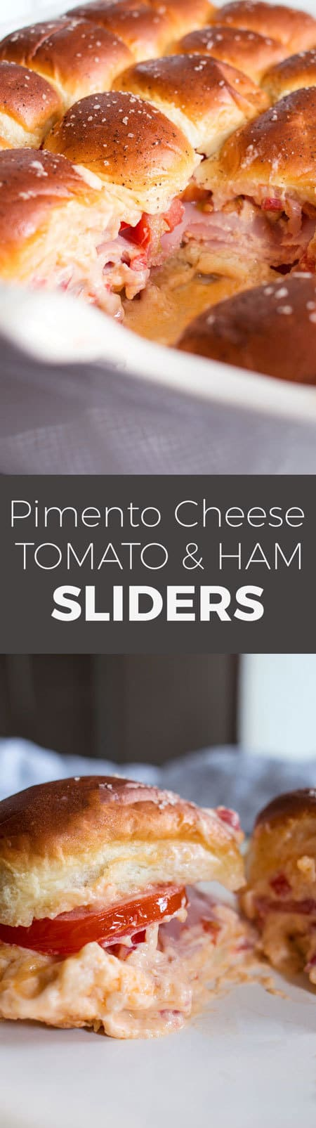 Pimento cheese tomato ham sliders are the perfect party food! Perfect for big crowds, these flavorful sandwiches will be the star of your next event.