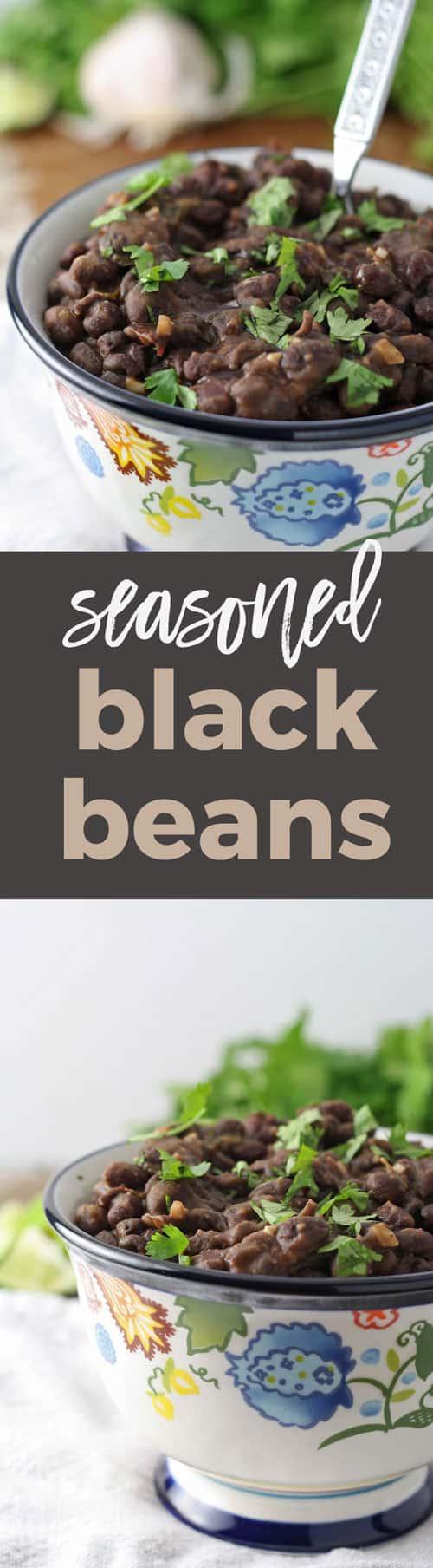 seasoned black beans side dish pin