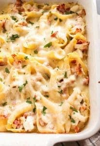 Chicken Bacon Alfredo Stuffed Shells