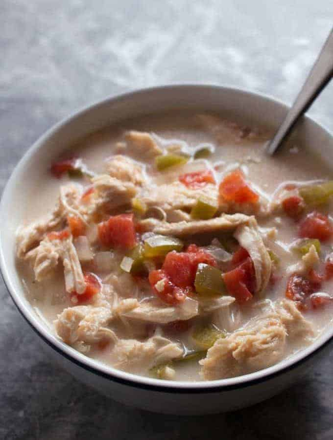 This Chicken Fajita Soup is made in the slow cooker; perfect for busy families and cool nights!