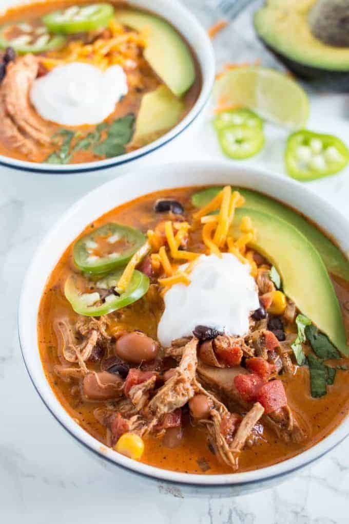 This creamy chicken taco soup is great for busy weeknights! It is has a lot of flavor and works great as leftovers for lunch.