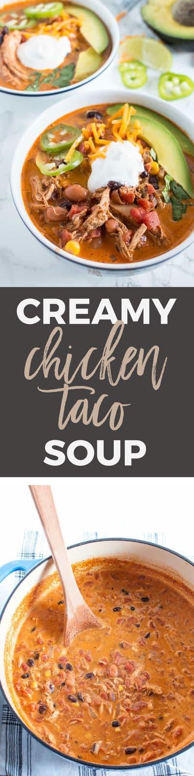 Creamy chicken taco soup pin