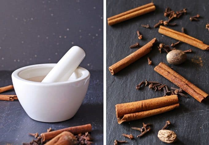 mortar and pestle and pumpkin pie spice ingredients