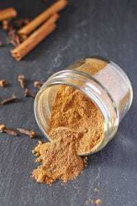 pumpkin pie spice mix in an open ball jar