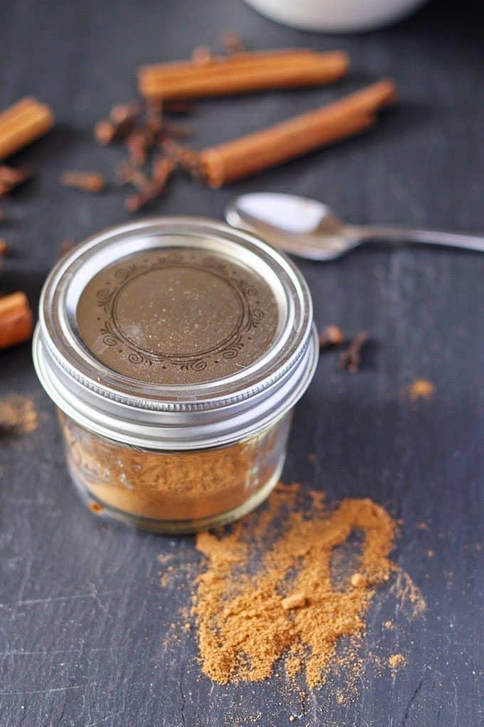 pumpkin pie spice mix in a closed ball jar