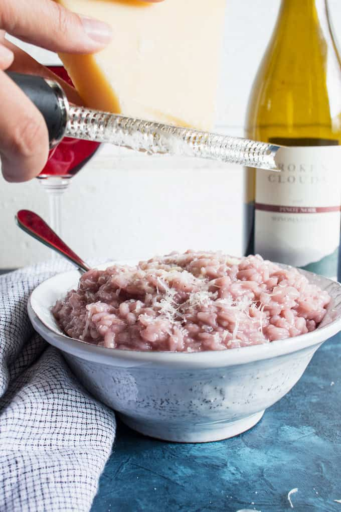 Treat yourself to homemade red wine risotto. All you need is 30 minutes and this exquisite dinner can be on the table!