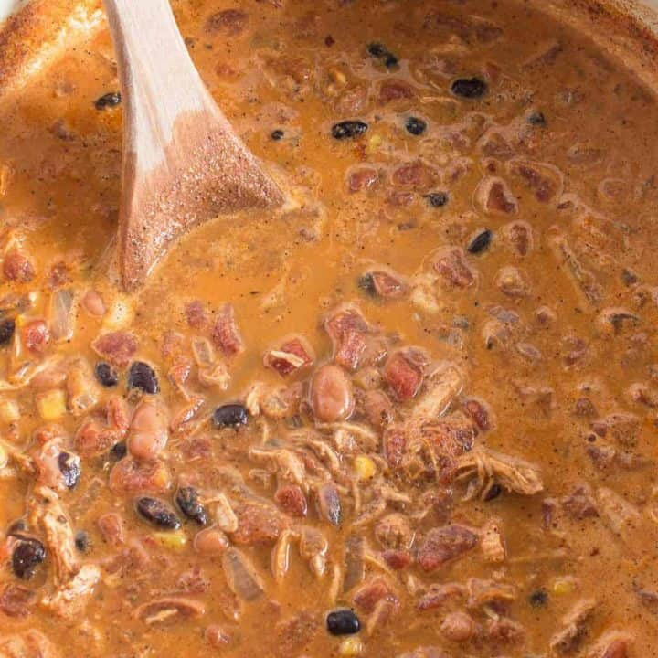 chicken taco soup in a blue pot