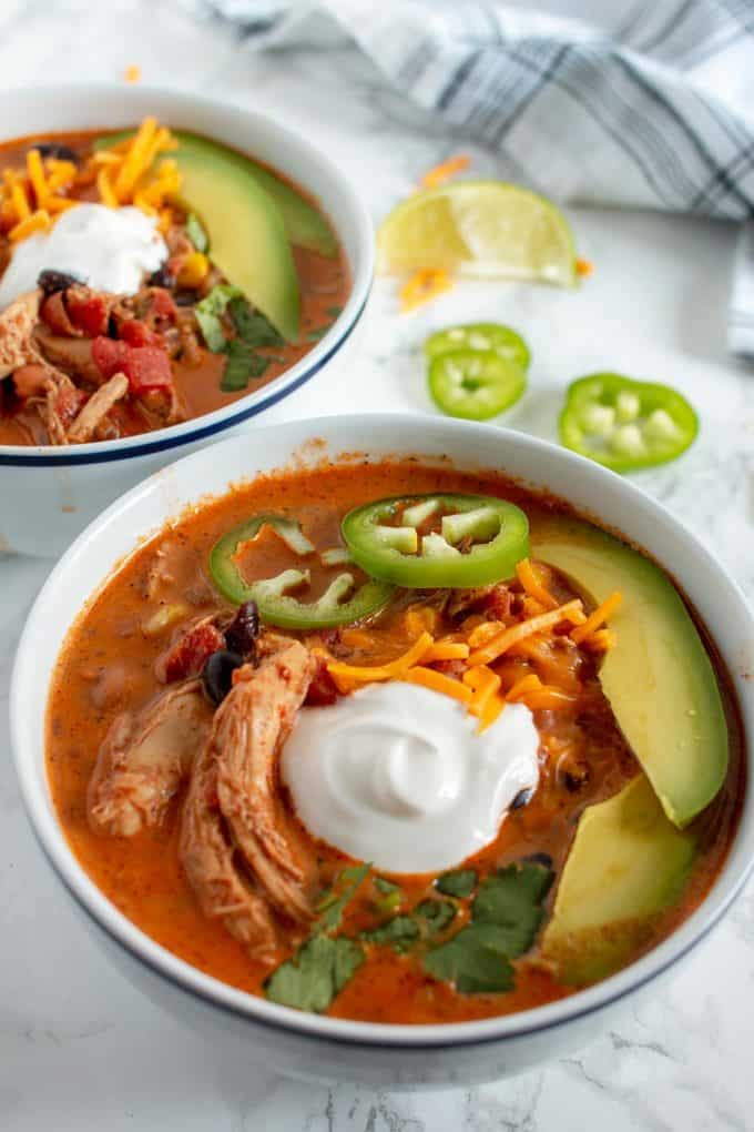 chicken taco soup with avocado