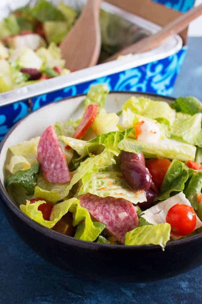 Looking for a last minute party recipe? This easy antipasto salad is the best for large crowds when you're short on time!