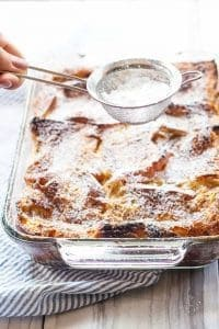 Baked vanilla French toast is the perfect lazy Sunday morning breakfast. Prep the whole dish the day before and then pop it into the oven in the morning!