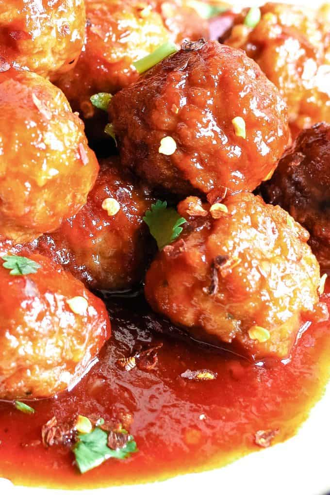 close up photo of sweet and spicy meatballs