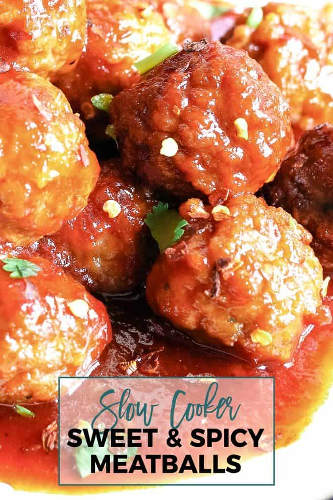 slow cooker sweet and spicy meatball pin