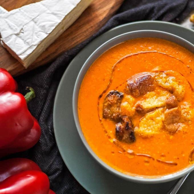brie roasted red pepper soup with brie cheese and roasted red peppers