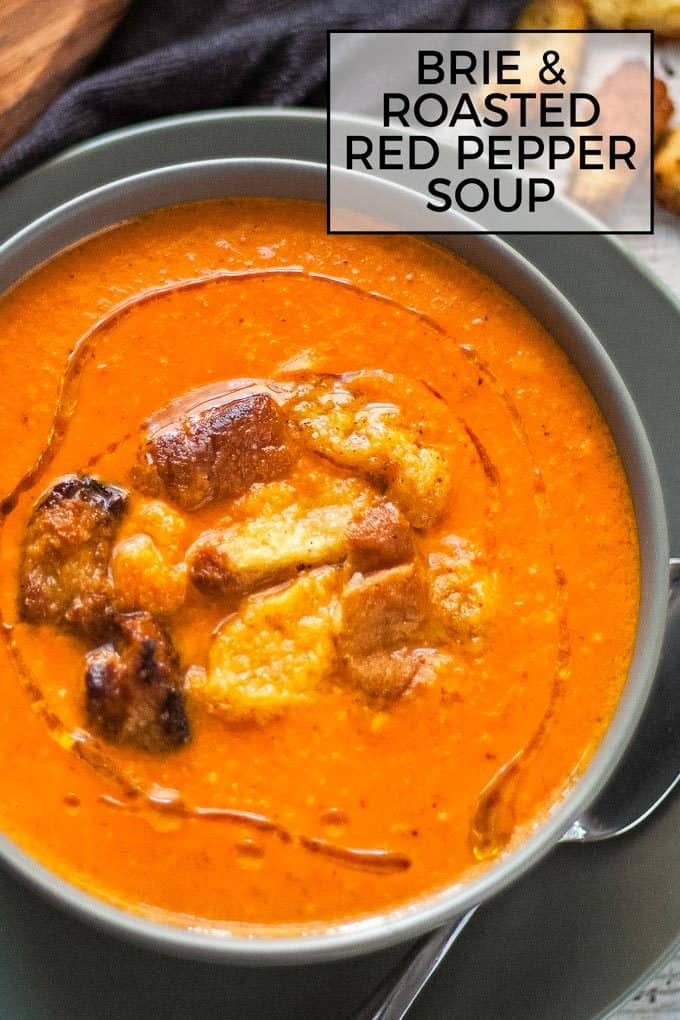 brie roasted red pepper soup pinterest image