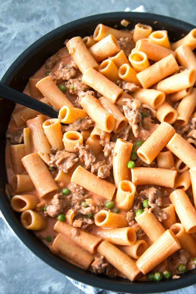 Country-Style Rigatoni in a skillet