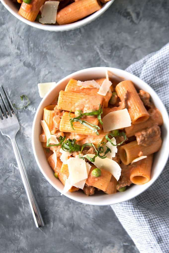 country-style rigatoni and a fork