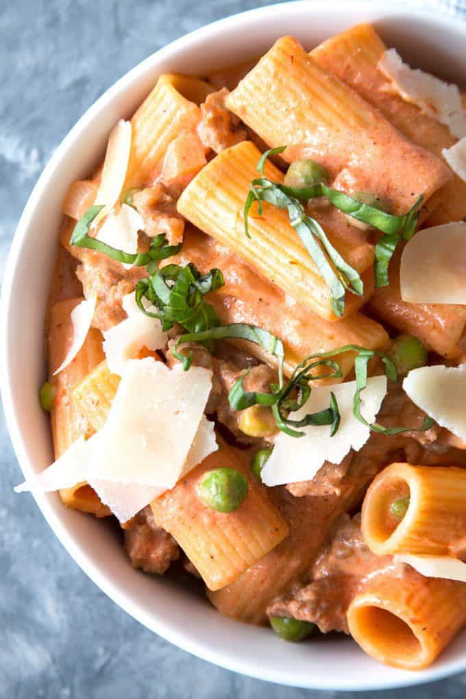 country-style rigatoni in a bowl