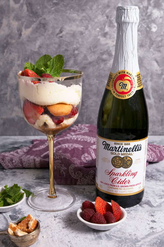 Raspberry Strawberry Parfaits with Sparkling Cider Frosting with a bottle of Martinelli's sparkling cider
