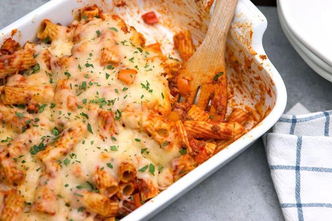 casserole dish full of chorizo rigatoni
