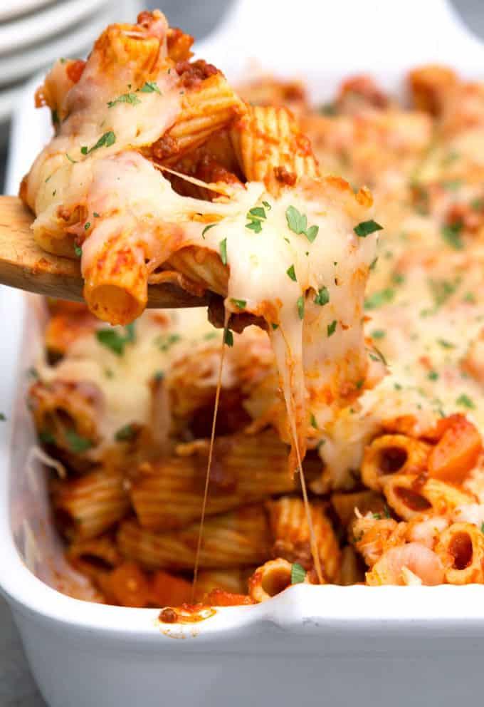 stretchy cheese from chorizo rigatoni casserole