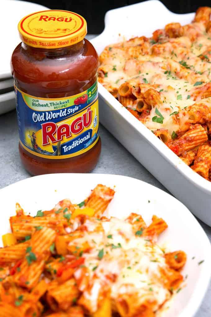 bowl of chorizo rigatoni bake and jar of RAGÚOld World Style traditional sauce