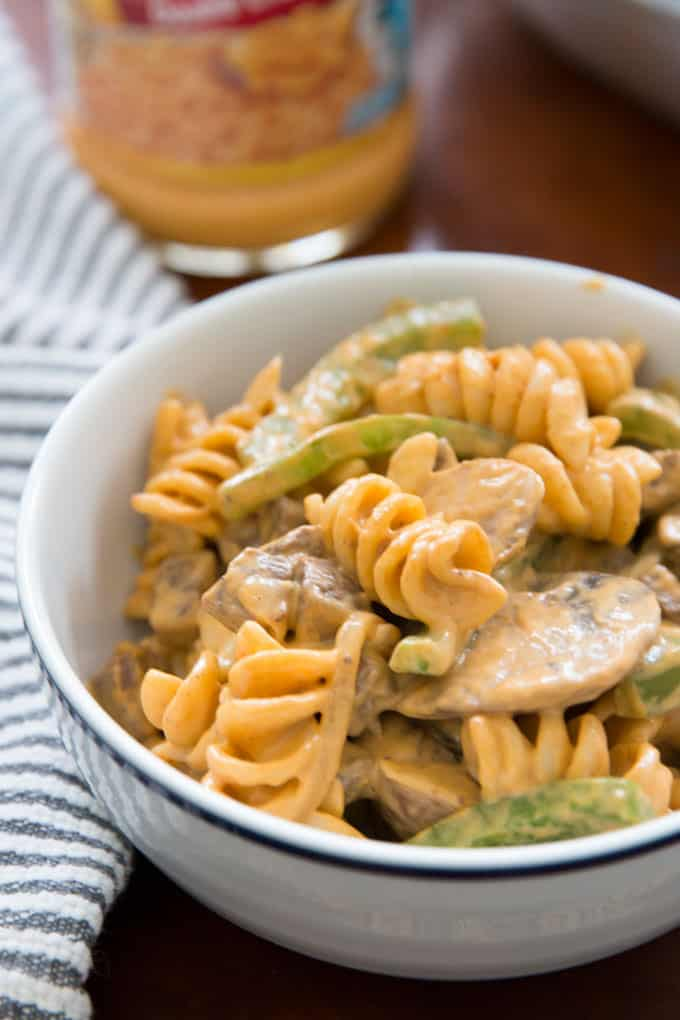 photo of Philly cheesesteak rotini in a white bowl