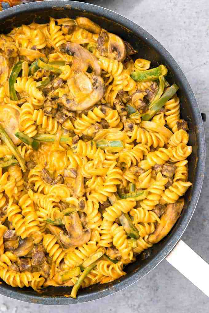 Philly cheesesteak rotini recipe in a pan