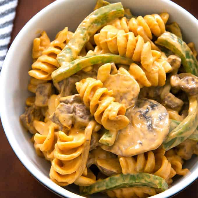 Philly cheesesteak rotini in a bowl