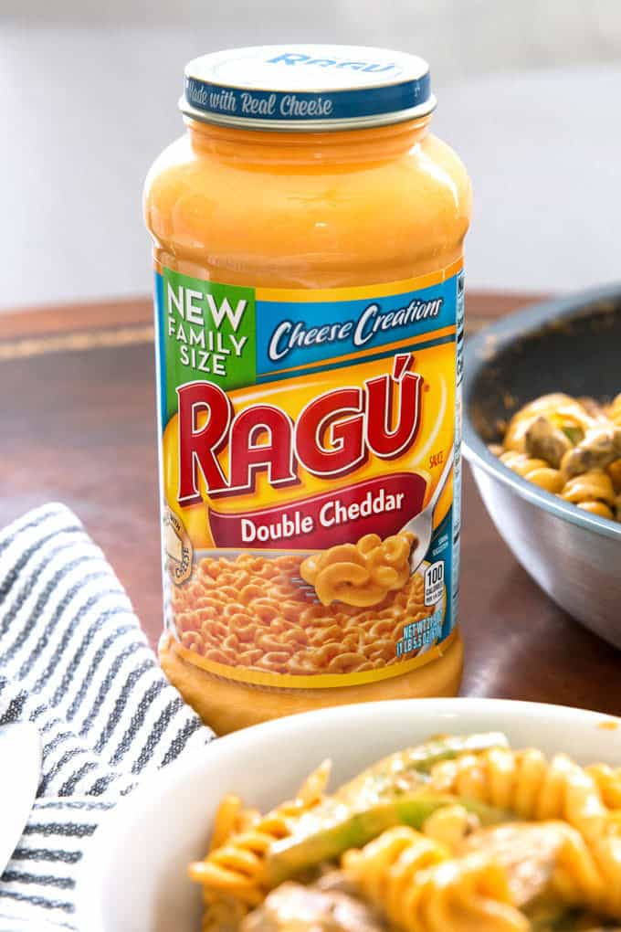 jar of RAGU double cheddar sauce
