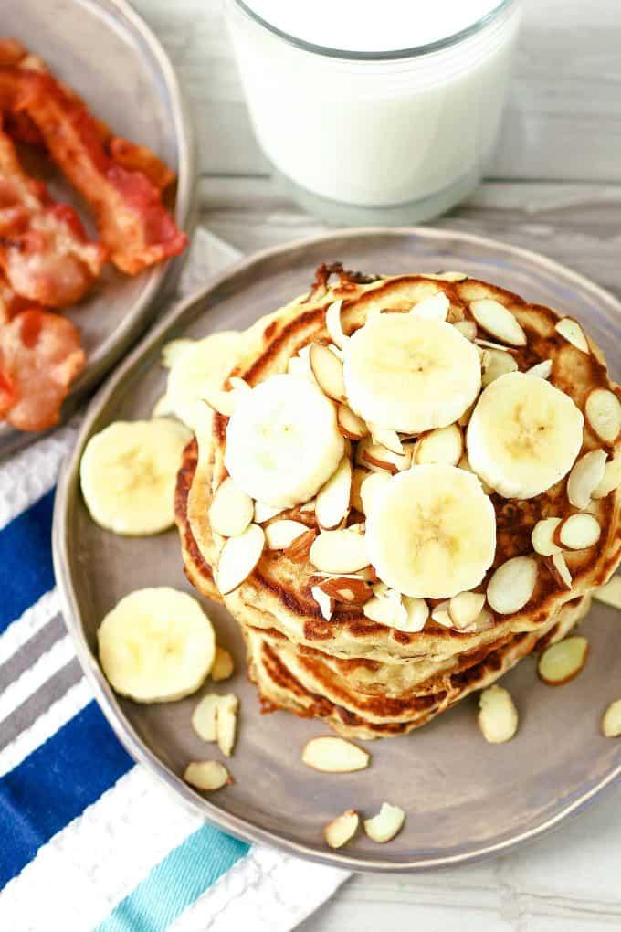 overhead image of plate of almond banana pancakes