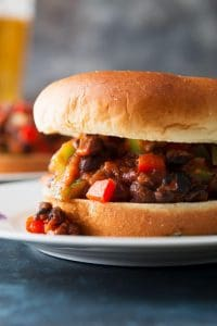 close up photo of black bean sloppy joes recipe