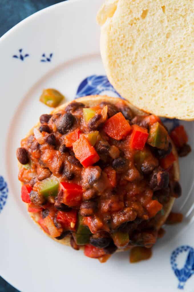 one open faced black bean sloppy Joe on a plate