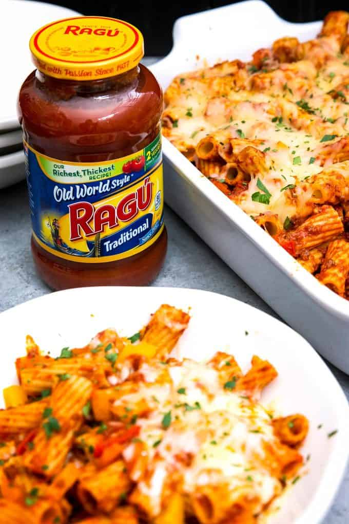 close up photo of RAGU sauce and a bowl of chorizo rigatoni casserole
