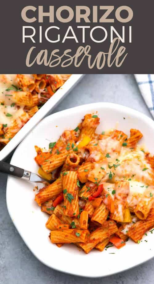 Chorizo rigatoni casserole pin
