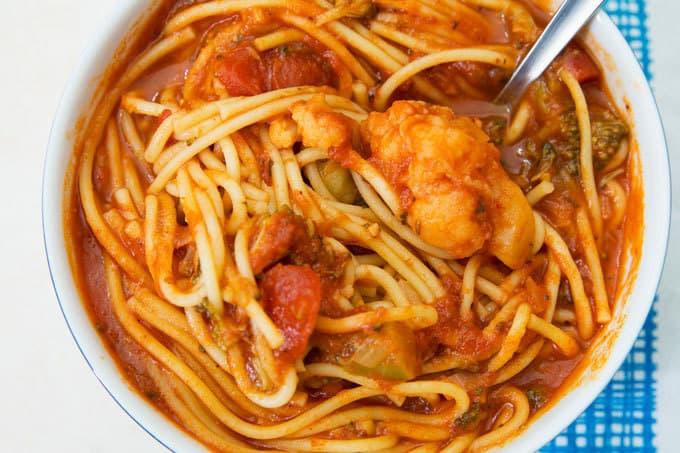 overhead photo of instant pot spaghetti soup