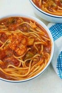 instant pot spaghetti soup in a white bowl