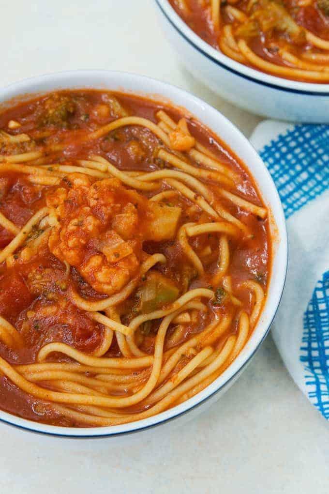 bowl of instant pot spaghetti soup