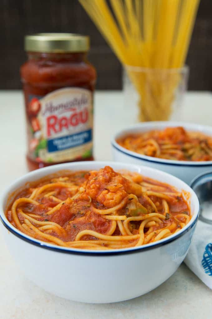 two bowls of instant pot spaghetti soup