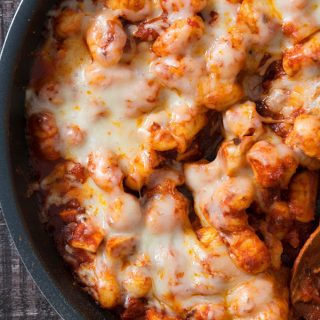 one pan cheesy gnocchi in a pan